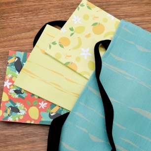 My patterns on notebooks and tote bags. :)